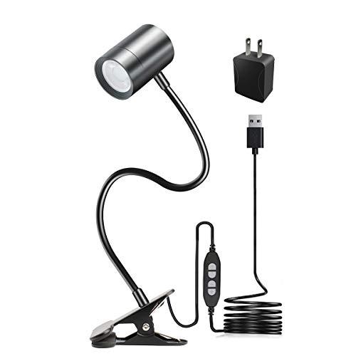 Clip on Reading Light, 3000K - 6500K Clamp Desk Lamp, 10-Levels Brightness LED Light, Eye Protect 360° Flexible Gooseneck Book Light for Desk Bedside Headboard (Black)