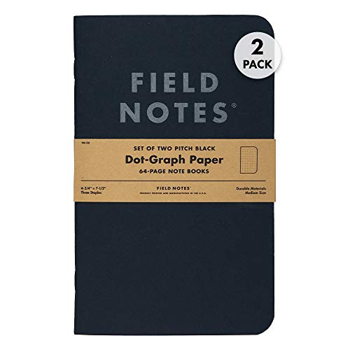 Field Notes 2-Pack Pitch Black Notebooks (4.75' X 7.5'), Dot-graph, 64 Pages | Thin Pocket Sized EDC Notebook With 90 GSM Paper & Paperback Cover | Work Notebooks For Note Taking | Made in the USA