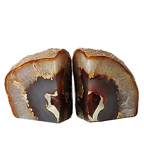 JIC Gem 2 to 3 Lbs Natural Agate Bookends Decorative Polished 1 Pair with Rubber Bumpers for Office Décor and Home Decoration Small Size