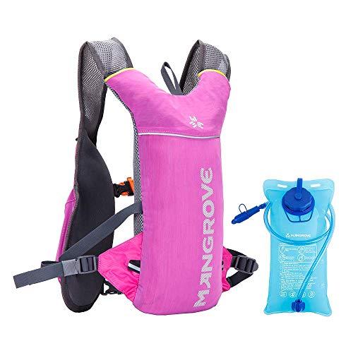 ランニングバッグ ハイドレーションバッグ 2L給水袋付き MANGROVE マラソンリュック 5L 超軽量 通気性抜群 リュックサック スポーツ バックパック 登山、ジョギング、ハイキング、遠足、アウトドア、サイクリング適用