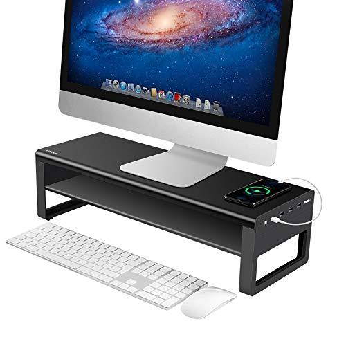 VAYDEER Soporte de Monitor de 2 Niveles con 4 Puertos USB 3.0 de Soporte de Aluminio Que, Soporte de Metal Compatible con hasta 32 Pulgadas para Oficina, PC, Computadora, Computadora Portátil
