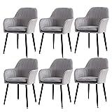 WYBW Juego de 6 sillas de comedor para el hogar, sillas de comedor, tapizadas de terciopelo, cojines acolchados modernos, sillas de ocio, taburetes de maquillaje, color azul marino, 6 unidades