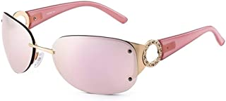 SGJFZD Trendy Wide Temples Sunglasses Ladies' Outdoor Sunshade UV Protection Sunglasses (Color : Pink)