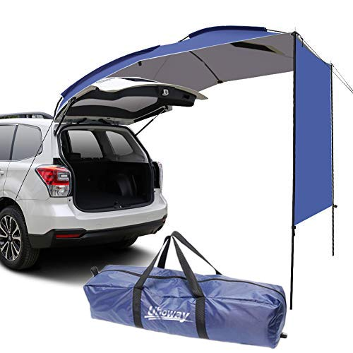 WISAMIC Car Awning Sun Shelter - Waterproof Auto Canopy Camper Trailer Tent Tailgate Awning Tent Roof Top for SUV, MPV, Hatchback, Minivan, Sedan, Camping, Outdoor