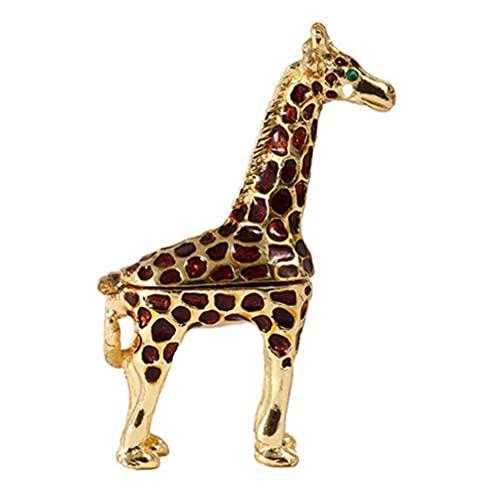 Cabilock Giraffe Figurita Anillo Titular con Bisagras Cajas de Joyería Organizador Expositor Soporte de Cristal Esmaltado para Regalos Pendientes Colgantes Collares de Oro