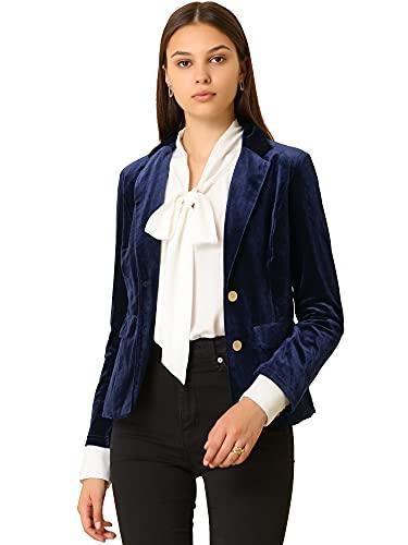 Allegra K Chaqueta de Terciopelo de Oficina Frontal con botón de Solapa con Muesca Vintage para Mujer Azul Oscuro S