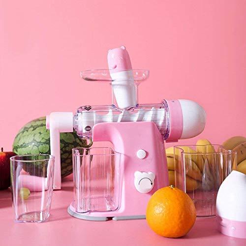 Manuale Juicer multifunzionale domestico Bambino Mini frumento erba succo maniglia Fruit Juice Machine, Verde LMMS (Color : Pink)