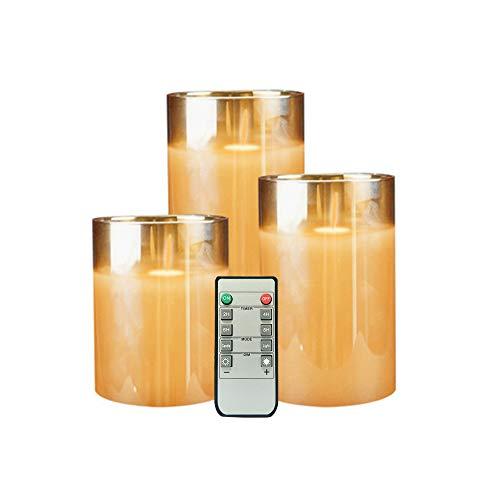 Braune flammenlose Kerzen aus Glas, flackernd mit Fernauslösern, Geschenk-Set, 3 LED-Kerzen, batteriebetrieben, 10,2/12,7/15,2 cm, echte flammenlose Kerzen für Hochzeit, Festival, Dekoration