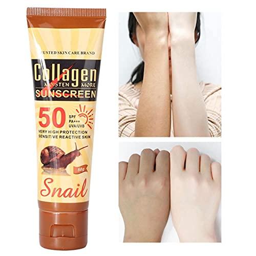 Práctica Crema solar portátil y ligera de peinado Apieu, Previene(Collagen Snail Sun Cream Item No. DS51922)