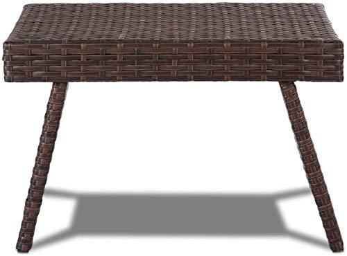 Amyline Plegables mesas mesitas de café Mesa de Mimbre de ratán, fácil de almacenar, Uso Interior/Exterior,Brown