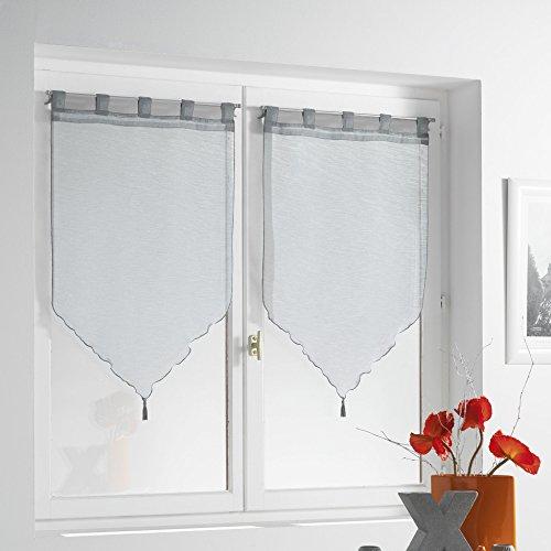 douceur d'intérieur 1622761 Paire Pompon Voile Sable Lissea Polyester Gris 120 x 45 x 120 cm