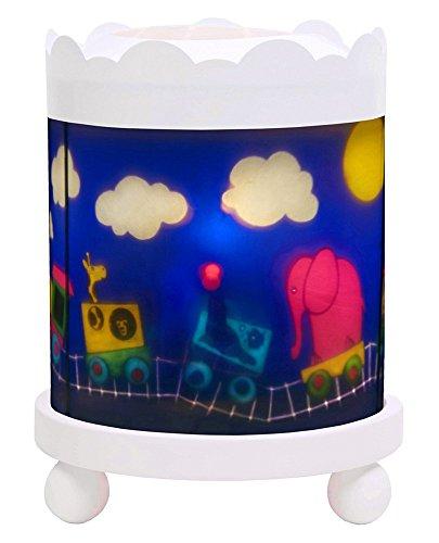 Trousselier - Zug - Nachtlicht - Magisches Karussell - Ideales Geburtsgeschenk - Farbe Holz weiß - animierte Bilder - beruhigendes Licht - 12V 10W Glühbirne inklusive - EU Stecker