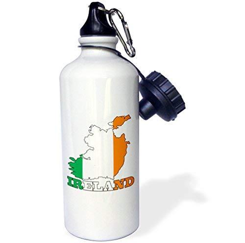 ANGELA G De vlag van de Republiek Ierland in de omtrek kaart van het land en de naam, Ierland Sport Waterfles, 21 oz, Wit RVS Waterfles
