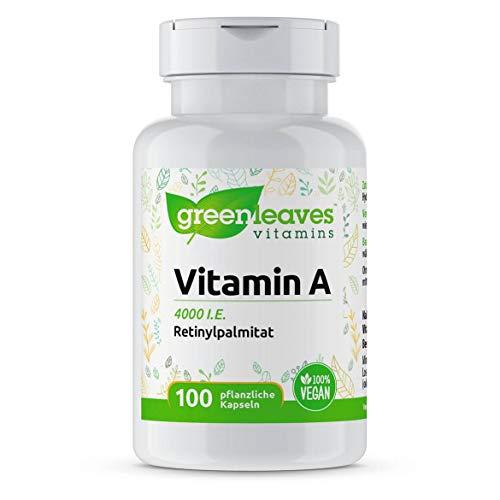 Greenleaves Vitamins - Vitamin A 100 pflanzige Kapseln 4000 I.E. Retinylpalmitat