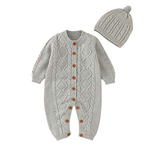 mimixiong Baby Neugeborenes Baumwolle gestrickt Pullover Strampler Langarm Outfit mit warmen Hut Set (0-6 Monate/70, Grau)