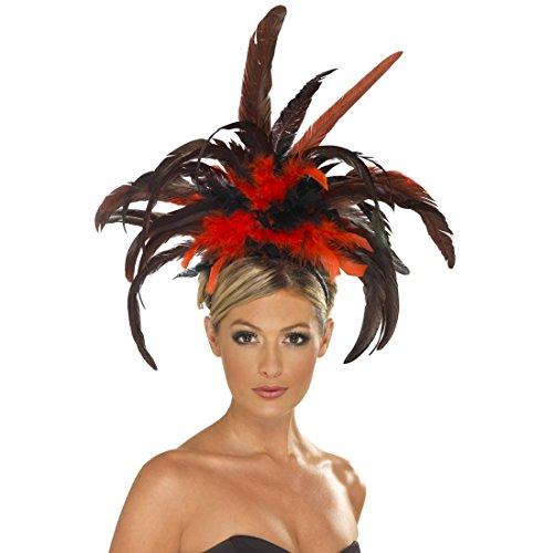 NET TOYS Coiffe Burlesque Noire et Rouge Rio - Plumes - Headband Cancan - Showgirl - Chapeau à Plumes - Danseuse - Coiffe à Plume - Parure de tête brésilienne - Parure de Cheveux
