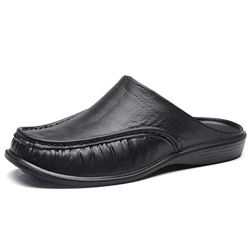 Syfinee Men Comfy Backless Slippers, Casual Sandals Breathable Anti-slip Breathable Punching Leather Slip on Shoes Casual Loafers for Summer Outdoor