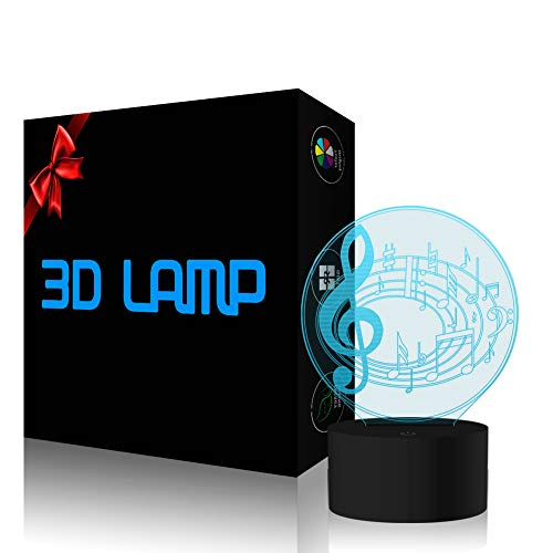 YKLWORLD Musical Note Night Light 3D Illusion Lamp LED Desk Table Lamp 7 Color Changing Touch Sensor Nightlight with USB Cable for Bedroom Kids Birthday Gifts Music Lovers Decoration