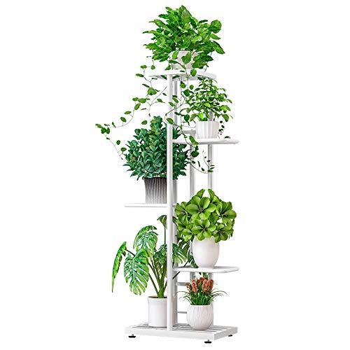 IBEQUEM 5 nivåer metallväxtstativ, flera blomkrukorthållare, hyllor, planteringsställ förvaring organisering display för inomhus utomhus balkong trädgård (vit)