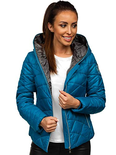 BOLF Damen Übergangsjacke Steppjacke Freizeitjacke Outdoorjacke Reißverschluss Classic Sport Style FREESTEP A5701 Blau XL [4D4]