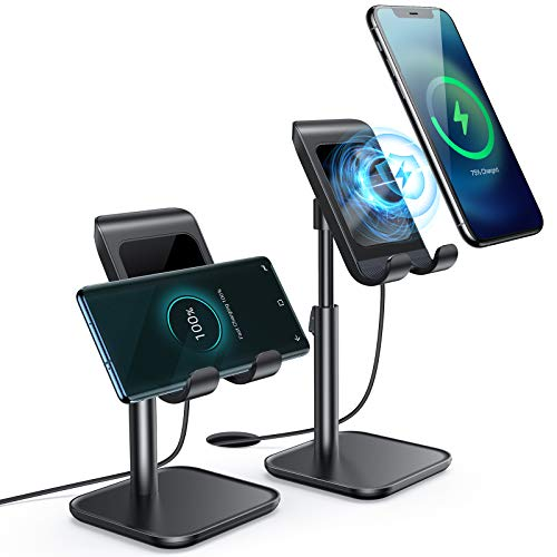 iPhone Wireless Charger, [Angle&Height Adjustable] LISEN Cell Phone Wireless Charging Stand, 10/7.5W Fast Wireless Charger for iPhone 12/11/Pro/Max/X/XR/XS Max, Galaxy Samsung S20 S10/S9/S8