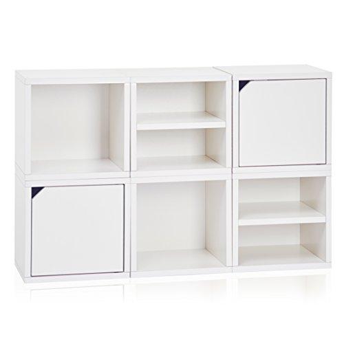 Way basics 6 modulair 3-in-1 Shelf Connect Cube opbergsysteem, wit (montage zonder gereedschap en unieke afwerking van duurzaam niet-giftig zboardkartonage), gerecycled papierboard, één maat