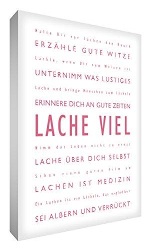 Little Helper LM2436-01G Feel Good Art - Quadro da parete, in tela resistente, con scritta in lingua tedesca in caratteri moderni, motivo: Lache Viel, Vintage rosa/bianco, 60 x 91 cm