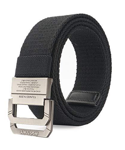 Longwu Cinturón táctico casual de doble hebilla con anilla en D de lona militar para hombres Negro