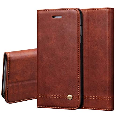 LBYZCASE Case for LG Arena 2/LG Escape Plus/LG X2 2019/LG Journey LTE/LG X320,Folding Flip Wallet Leather Protective Cover with Card Slots Kickstand Magnetic Closure for LG K30 2019 (Brown)