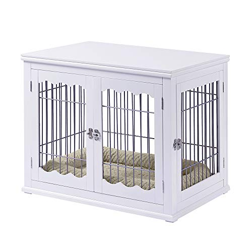 unipaws Wooden Dog Crate with Dog Bed Medium, Furniture Style Dog House Dog Kennel for Indoor, Wire Pet Kennels with Double Doors for Home, White