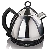 Chef'sChoice 685 Stainless Steel Deluxe Cordless Electric Tea Kettle Featuring Auto Shut Off and Boil Dry Protection Easy Pour and Indicator Light, 1.3-Liter, Silver