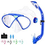 JARDIN Kids Snorkel Set, Dry Top Snorkel Mask, Anti-Fog Anti-Leak Tempered Glass Swimming Goggles, Panoramic Wide View Scuba Mask, Professional Snorkeling Gear for Kids Youth Boys Girls (Blue)