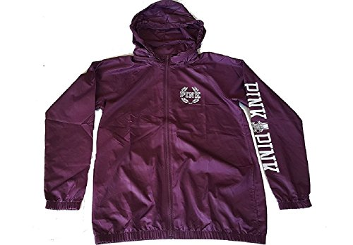 Victoria's Secret Pink Anorak Windbreaker Full-Zip Hoodie Jacket Medium Burgundy