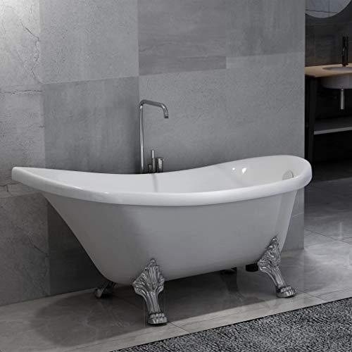 vidaXL Freistehende Badewanne mit Löwenfüßen Weiß Acryl