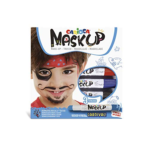 Carioca Mask UP Carnival | 43050 - Colori Truccambimbi per la Pelle in Stick, Tutorial Incluso, 3 Colori