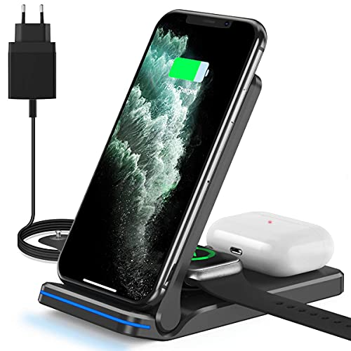Chargeur à Induction, 3 en 1 Chargeur sans Fil 15W Universel Qi Charging Rapide Pliable Station Compatible avec iPhone12/11/11pro/X/XS/XR/Xs Max/Samsung, Air pods Pro/2 et iWatch Séries (Noir)
