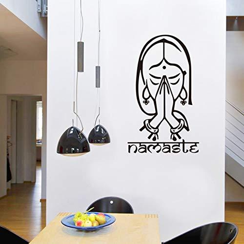 Pegatinas de pared de niña rezando religiosamente arte interior moderno decoración de pared sala de estar dormitorio pegatinas murales A8 43x26cm