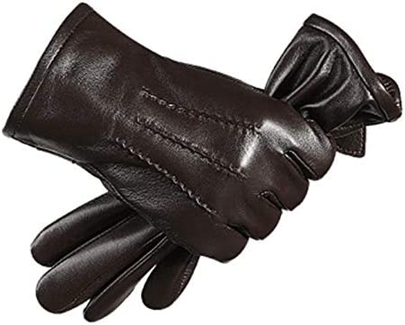 Lupovin-Keep Warm Touch Screen Sheepskin Gloves Windproof Raincoat Motorcycle Racing Total Finger Glove Non-Slip (Color : Coffee, Size : M)