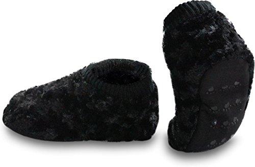 normani Sehr warme Norweger Hausschuhe mit Fell und ABS-Sohle für Kinder & Erwachsene Farbe Tatze/Schwarz Größe 39/42