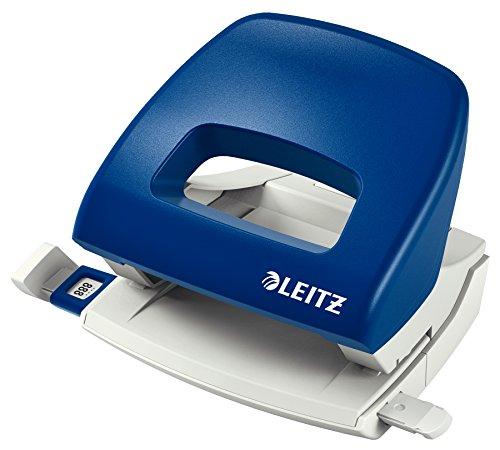 Leitz 50380035 kleiner Locher (16 Blatt, Anschlagschiene mit Formatvorgaben, Metall, NeXXt) blau
