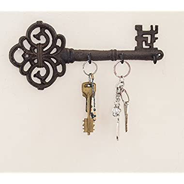 Decorative Wall Mounted Key Holder | Vintage Key With 3 Hooks | Wall Mounted | Rustic Cast Iron | 10.8 x 4.7- With Screws And Anchors By Comfify