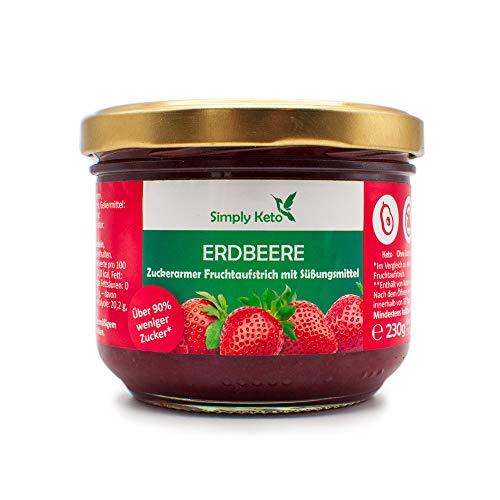 Simply Keto   Erdbeer Fruchtaufstrich mit Erythrit   im 230g Glas   hausgemacht aus eigener Produktion in Berlin   optimal für Low-Carb, Keto, Paleo, vegane, ketogene Ernährung (Erdbeere)