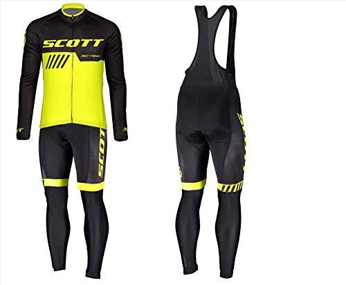 d.Stil Tuta Abbigliamento Ciclismo da Uomo Inverno Termico Vello Giacca + Pantaloni Ciclismo Lunghi per MTB Bici Professionale,Giallo, L