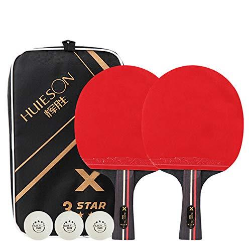 X-xyA Miros de Tenis de Mesa Profesional 2 Jugadores con 3 Piezas de 3pcs Ping Pong Raqueta de Bolsa de Transporte,2 x Shakehand