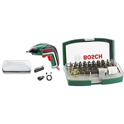 Bosch IXO Básico - Atornillador (3,6 volt system,en caja metálica) & 2607017063 - Set de 32 unidades para atornillar