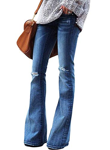 Minetom Damen Jeans Elegant Lady Fashion Retro Stil Bootcut Schlajeans Weites Bein Casual Jeanshose Maxihose Hippie 70er Party Outfit C Blau...
