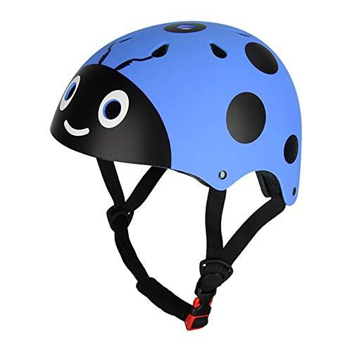 Casco Bicicleta SFBBAO Adulto Niño Lindo Ladybug Niños Bicicleta Riding Protective Niño Patineta Ciclismo 48-54cm Azul