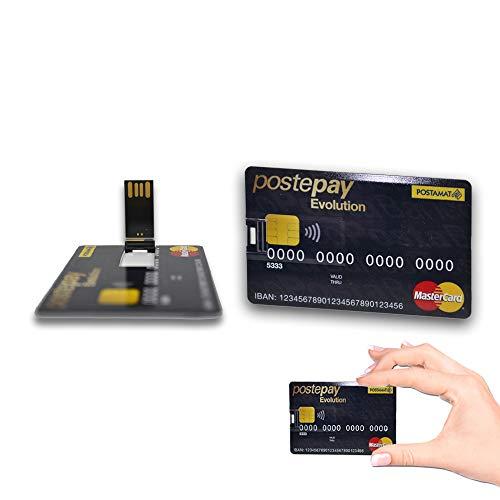 1neiSmartech Pen Drive Usb 8Gb 16Gb Credit Card Carta Di Credito Modello Stile Evolution Chiavetta Flash Pennetta Usb Colore Nero (16Gb)