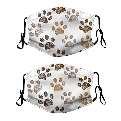 2 mascarillas lavables con lazo ajustable para la oreja, fondo de impresión de huellas de color marrón, cubierta de la boca, reutilizable y transpirable para hombres y mujeres