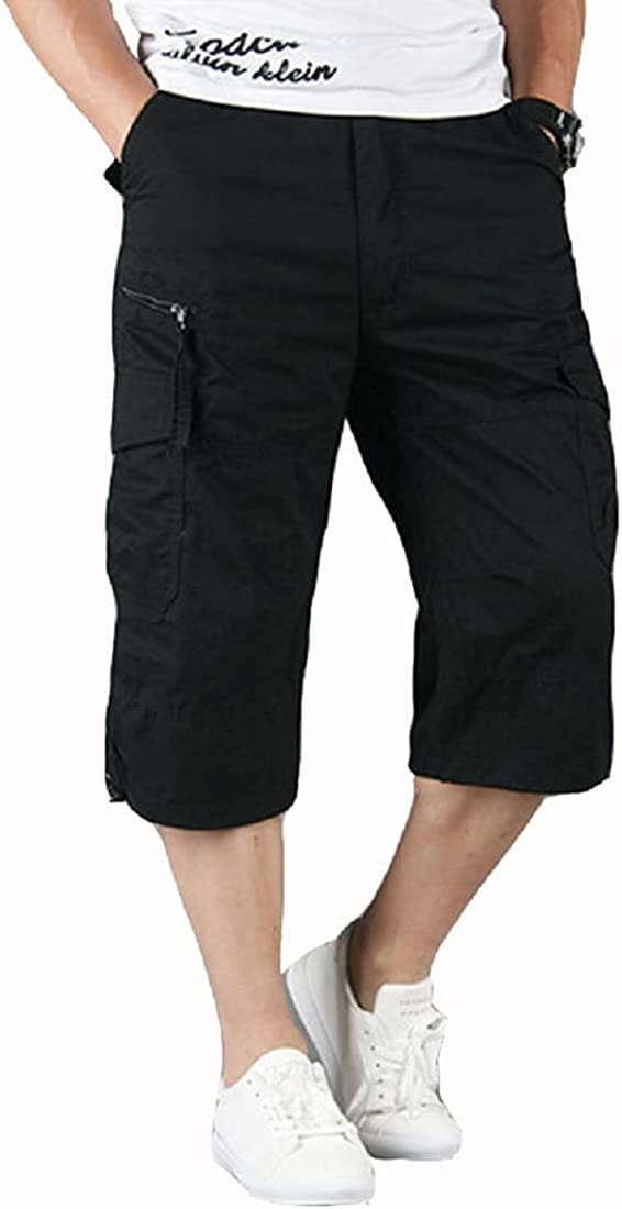 Kwoki Men's Multi-Pockets Outdoor Cargo Shorts Casual Loose Fit Workout Short Pants